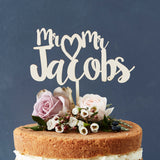 Mr And Mr Heart Surname Wooden Cake Topper