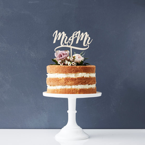 Decorative Mr And Mr Wooden Cake Topper