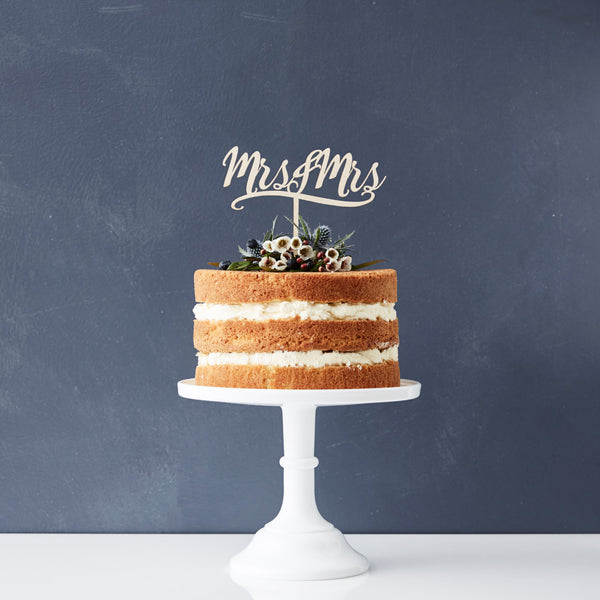 Decorative Mrs And Mrs Wooden Cake Topper