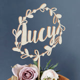 Personalised Floral Name Wooden Cake Topper