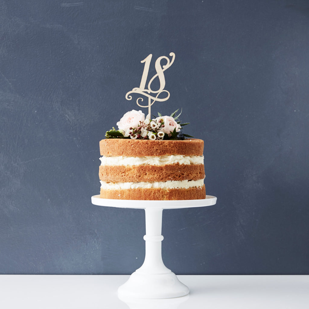 Decorative Birthday Age Wooden Cake Topper