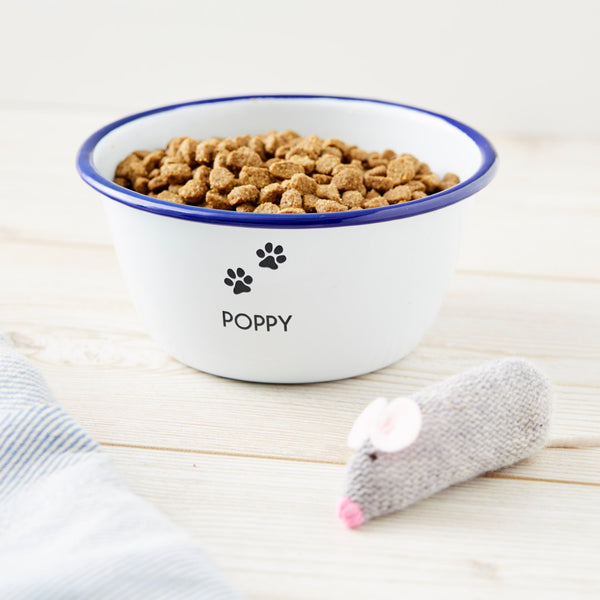 Personalised Enamel Cat Bowl