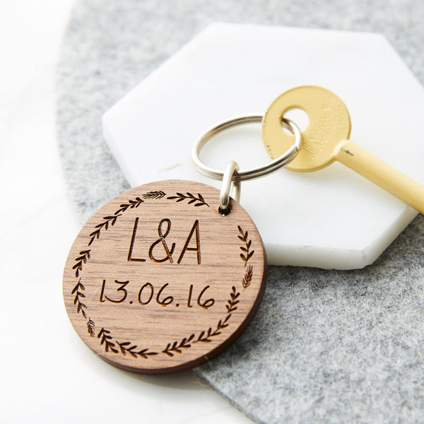 Personalised Wooden Wedding Keyring