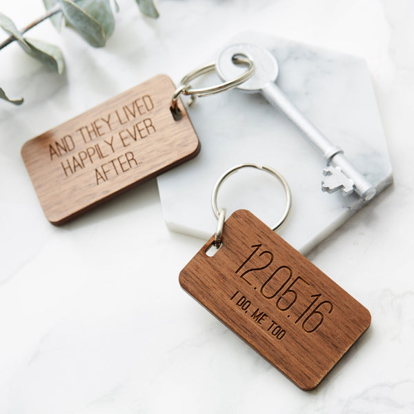 Personalised Wedding Date Wooden Keyring
