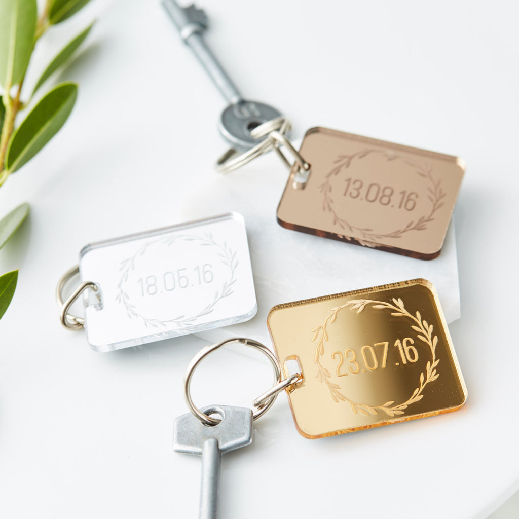 Personalised Special Date Mirrored Keyring