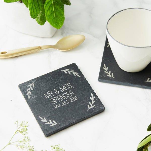 Personalised Slate Wedding Coaster