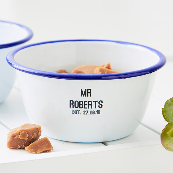 Personalised Wedding Enamel Bowl