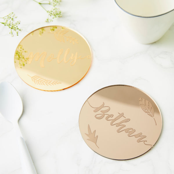 Personalised Botanical Mirror Drink Coaster