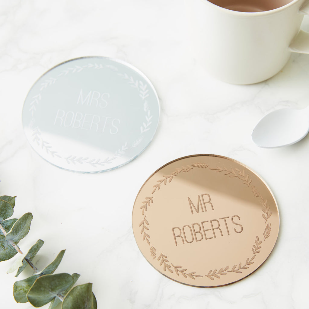 Personalised Wedding Wreath Drink Coaster