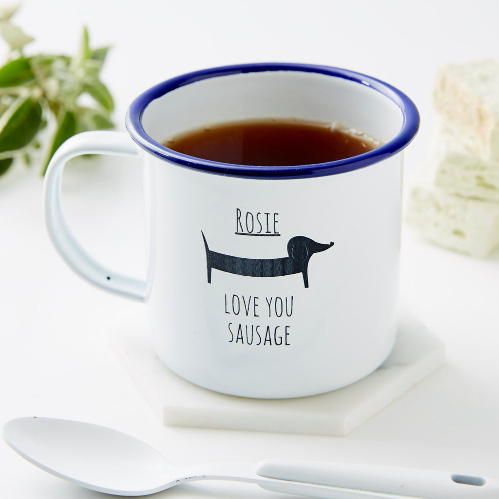 Personalised Sausage Dog Enamel Mug