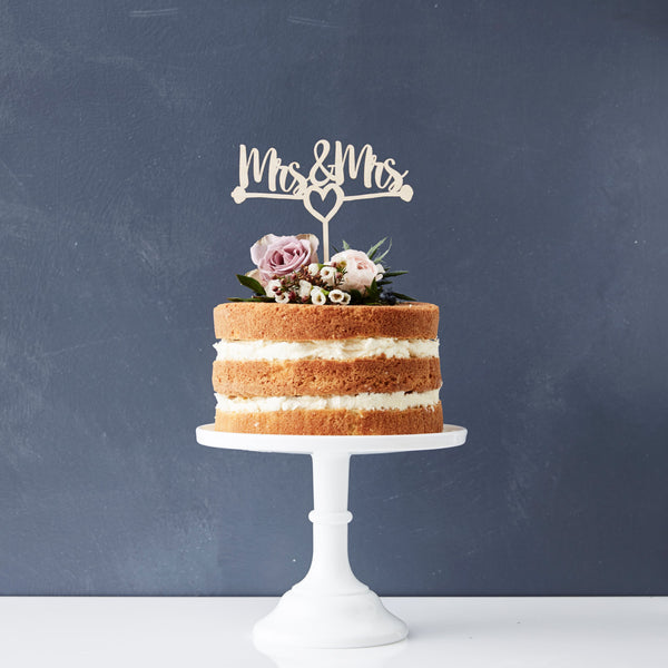 Mrs And Mrs Heart Wooden Cake Topper