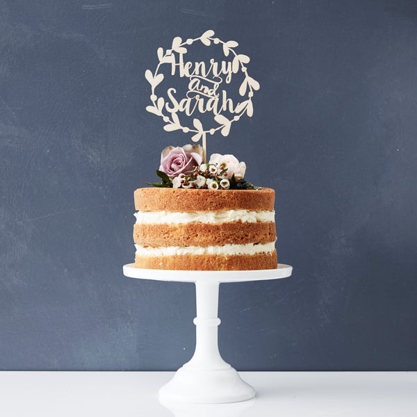 Personalised Floral Couples Wooden Wedding Cake Topper