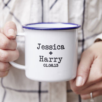 Enamel Personalised Couples Mug