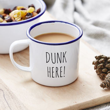 Enamel Personalised Dunk Here Mug