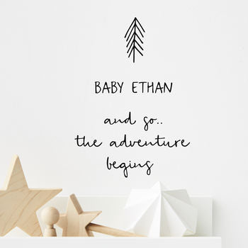 Personalised New Baby Wall Sticker