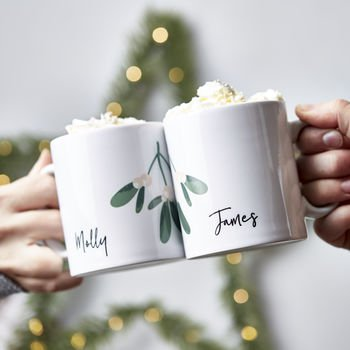 Personalised Mistletoe Mug Set
