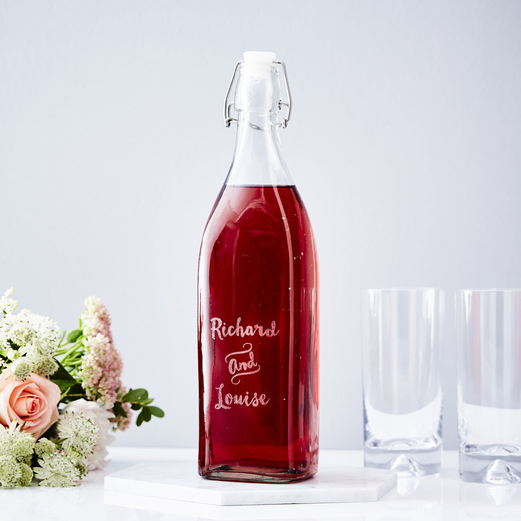 Couples Personalised Glass Bottle