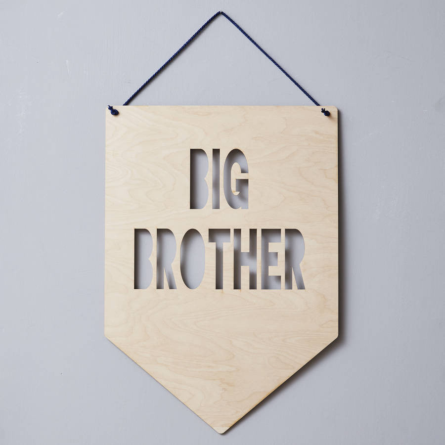 Big Brother / Little Brother Hanging Wooden Flag