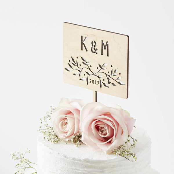 Botanical Personalised Initial Wedding Cake Topper