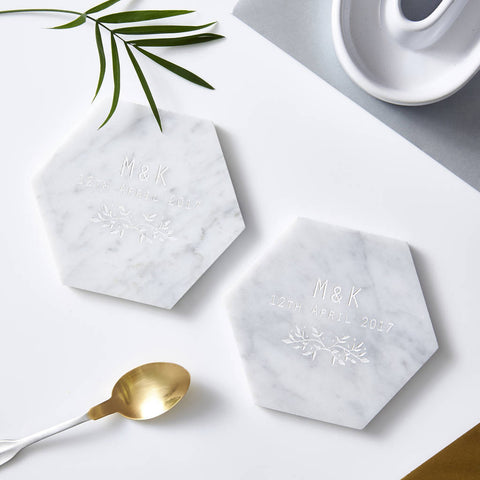 Botanical Personalised Marble Coaster