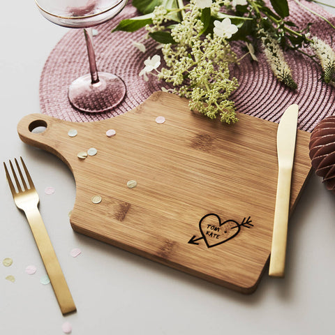 Carved Heart Personalised Chopping/Cheese Board