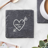 Carved Heart Personalised Slate Coaster