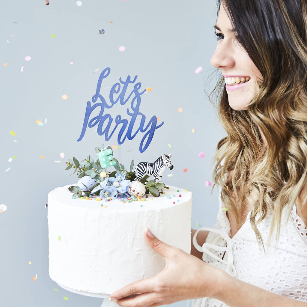 Charming 'Let's Party' Cake Topper