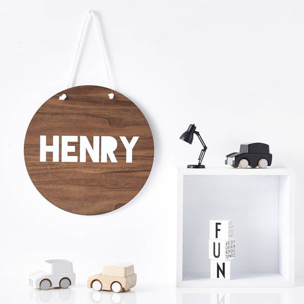 Children's Personalised Round Wooden Wall Art