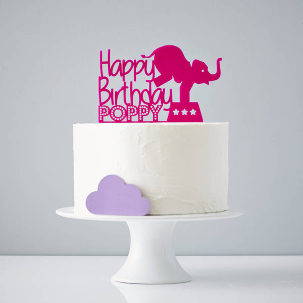 Circus Elephant Personalised Birthday Cake Topper