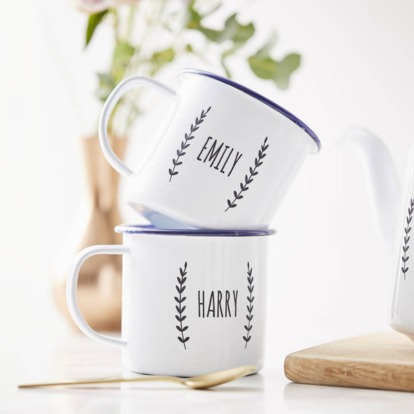 Couples Laurel Personalised Enamel Mug