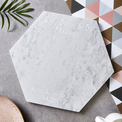 Eat, Drink And Be Personalised Marble Serving Board