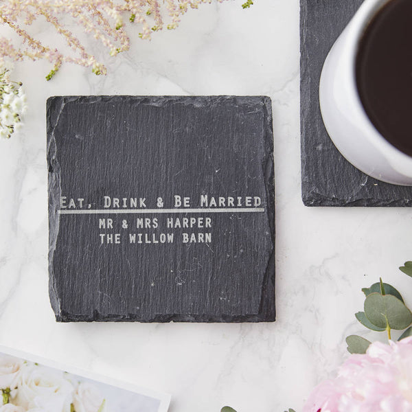 Eat, Drink And Be Personalised Wedding Coaster