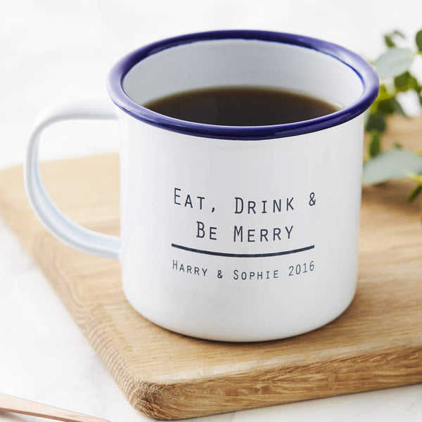 Eat, Drink And Be Enamel Wedding Mug