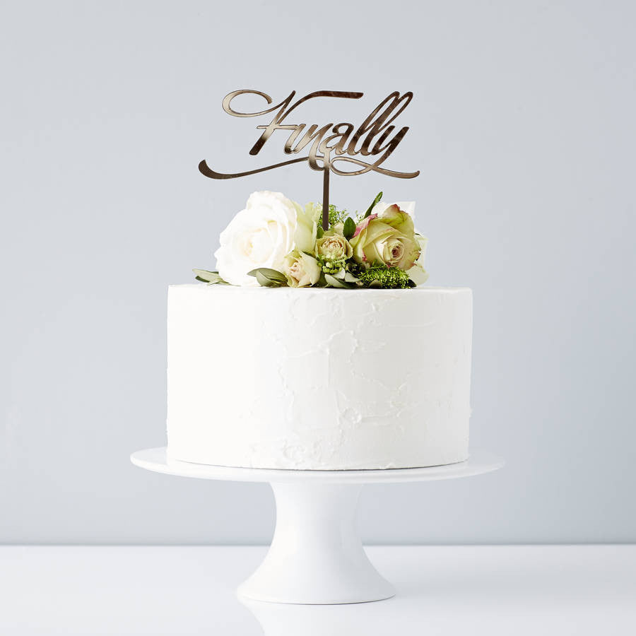 Elegant 'Finally' Wedding Cake Topper