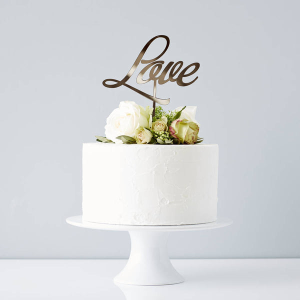 Elegant 'Love' Wedding Cake Topper