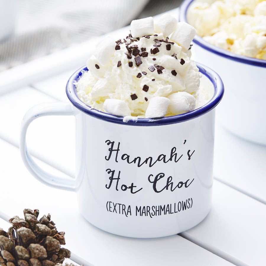 Enamel Personalised Hot Chocolate Mug