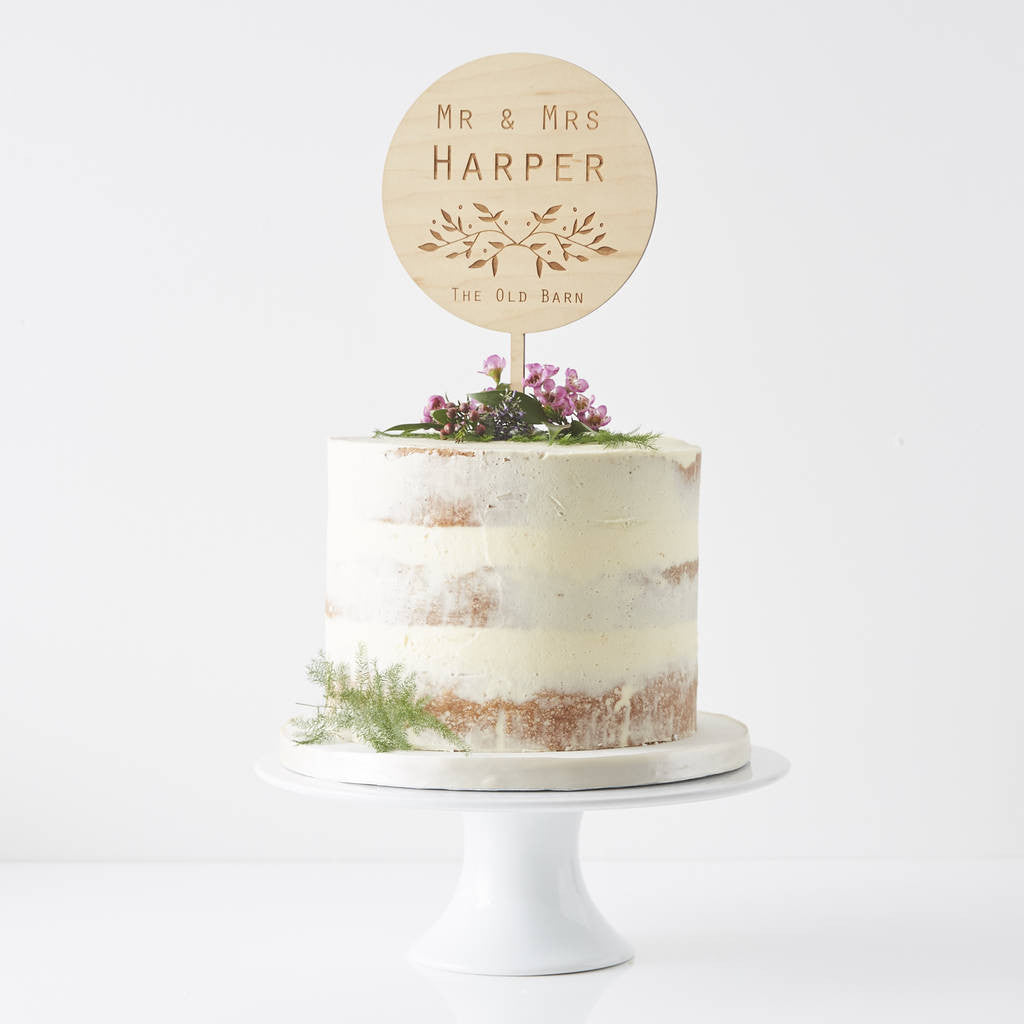 Engraved Botanical Personalised Wedding Cake Topper