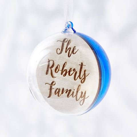 Engraved Colourful Personalised Family Christmas Bauble