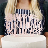 Floral Personalised Birthday Cake Topper