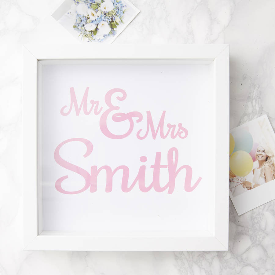 Framed Personalised Mr And Mrs Print