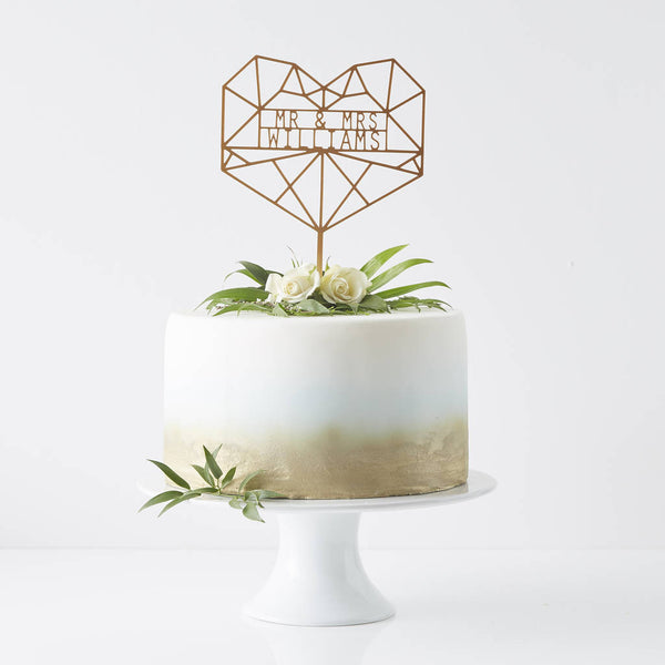 Geometric Heart Personalised Cake Topper