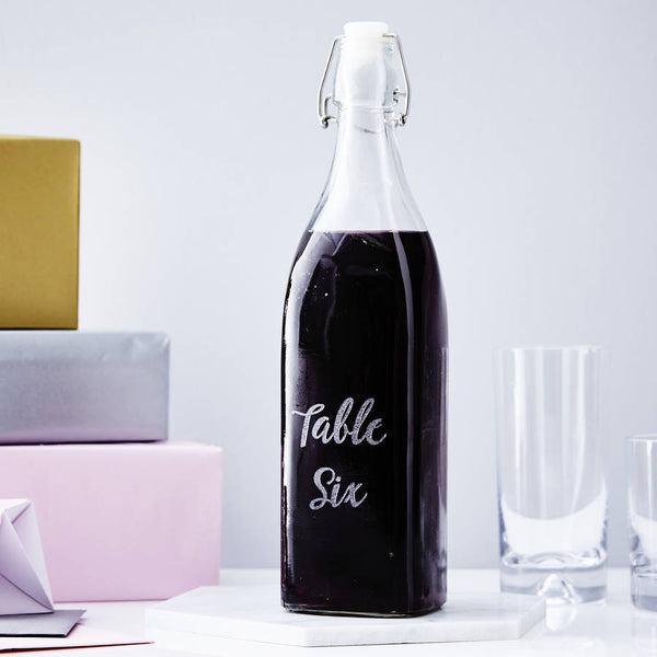Personalised Wedding Table Glass Bottles