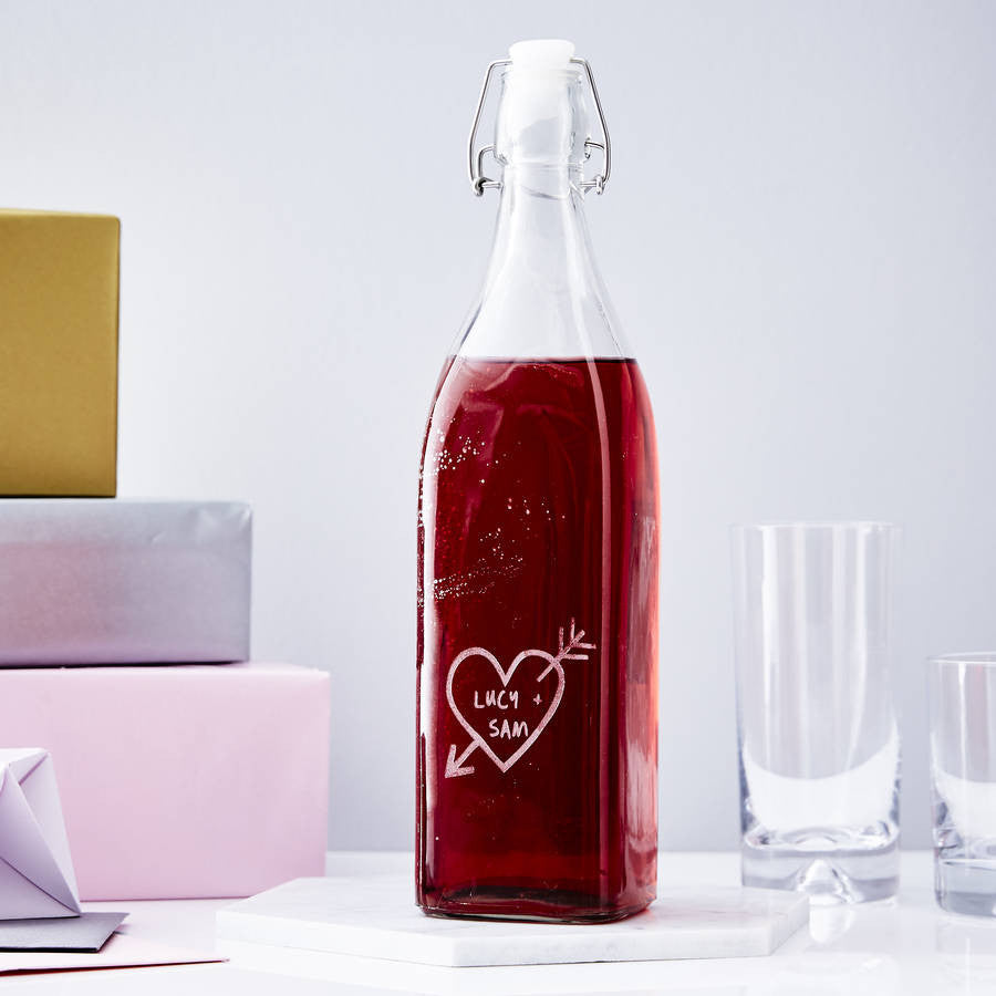 Personalised Carved Heart Glass Bottle