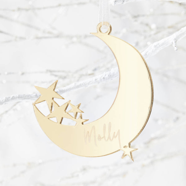Moon Personalised Christmas Decoration
