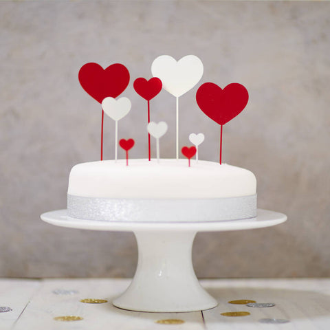 Heart Cake Topper Set
