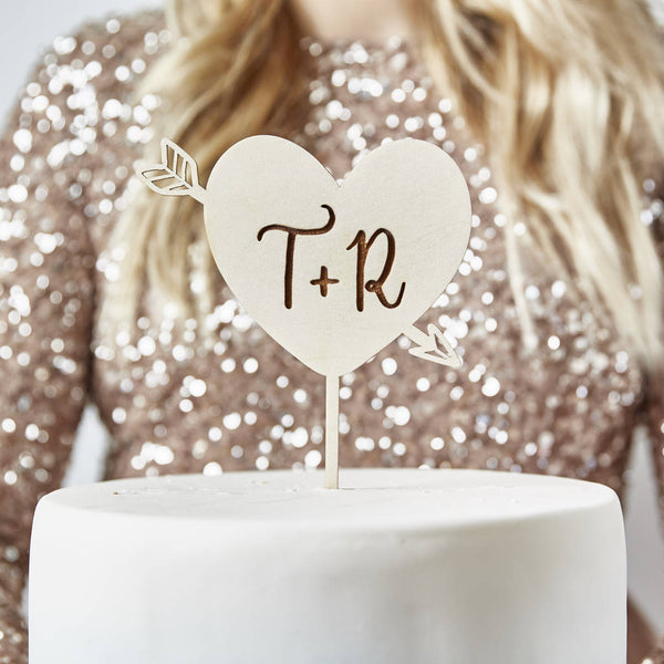 Heart Initials Personalised Wedding Cake Topper