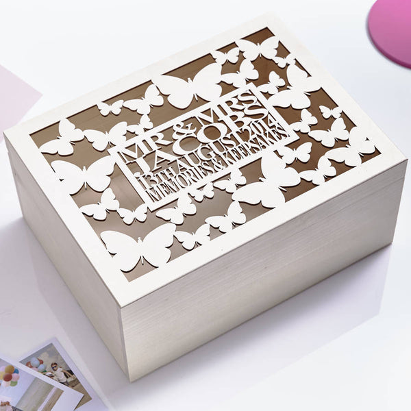 Large Butterfly Personalised Wedding Keepsake Box
