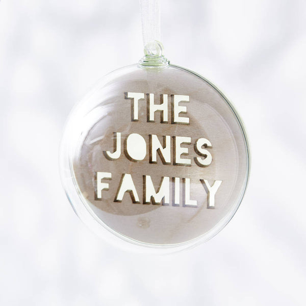 Laser Cut Personalised Family Christmas Bauble
