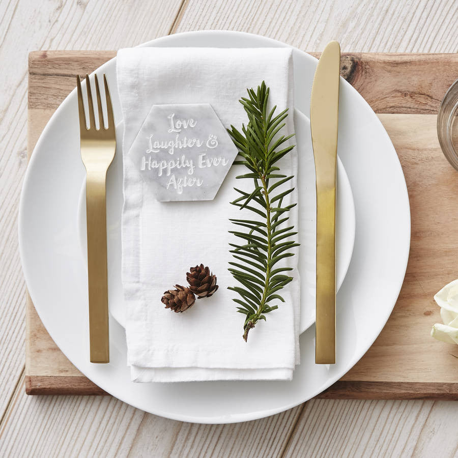 Marble Personalised Hexagon Place Setting