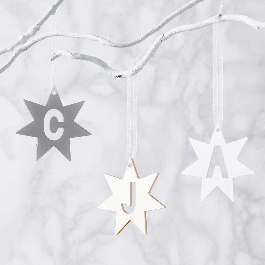 Metallic Initial Star Burst Personalised Decoration